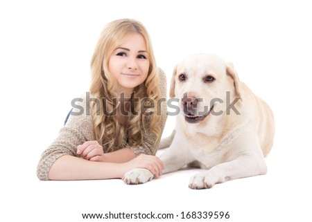 young beautiful woman lying with dog isolated on white background