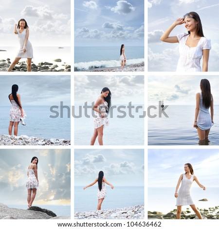 Young beautiful woman near the sea - stock photo