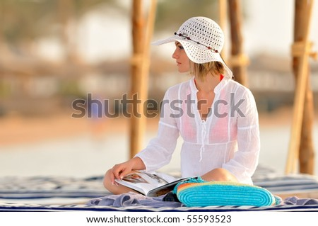 young beautiful woman outdoor in summer