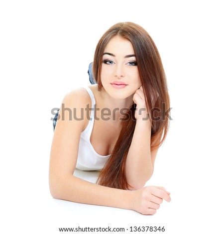 young beautiful woman portrait with long red hair over white studio shot