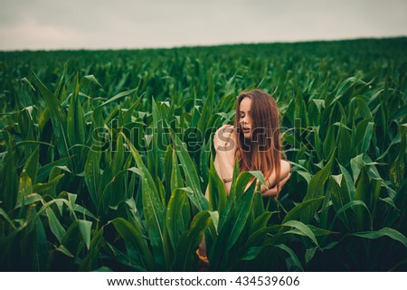 young beautiful woman posing naked in a cornfield  - stock photo