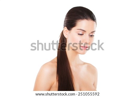young beautiful woman posing on a white background
