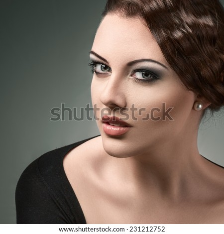 Young beautiful woman retro style fashion look portrait - stock photo