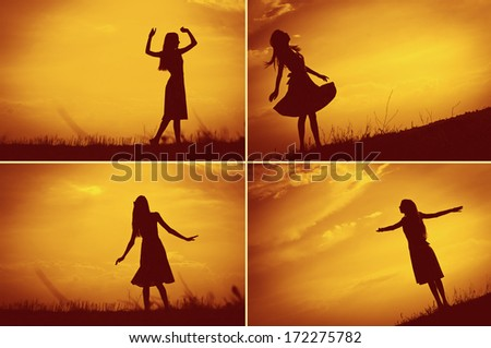 Young beautiful woman's silhouette at sunset - stock photo