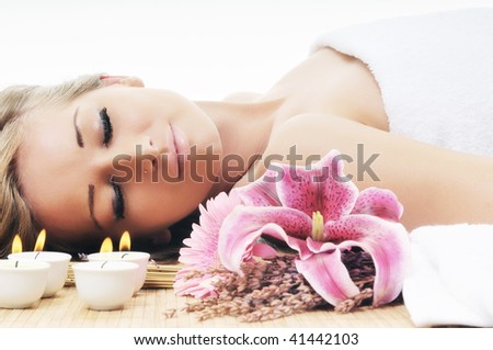 young beautiful woman  spa and beauty  treatment isolated on white - stock photo