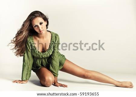 young beautiful woman studio shot - stock photo