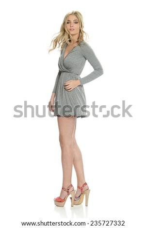 Young Beautiful woman wearing a gray dress isolated on a white background - stock photo