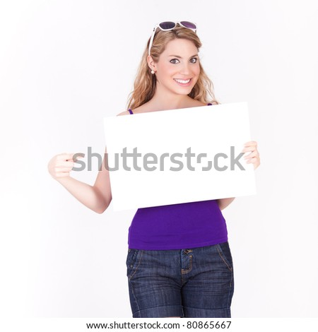 young beautiful woman with a white sign isolated on white background - stock photo