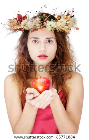 young beautiful woman with apple over white