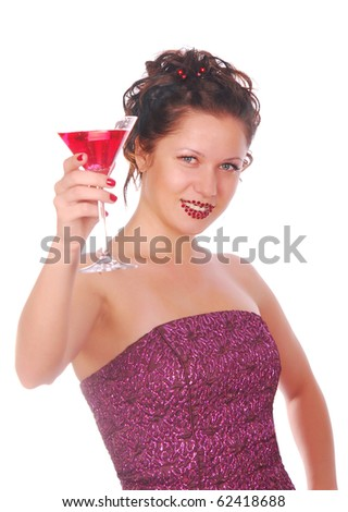 young beautiful woman with cocktail isolated on white
