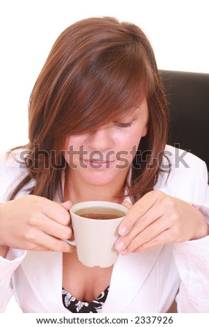 young beautiful woman with cup of green tea - break - isolated on white