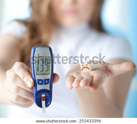 Young Beautiful Woman with Diabetes in Depression Lying on the Bed with Glucose Level Blood Test  - stock photo