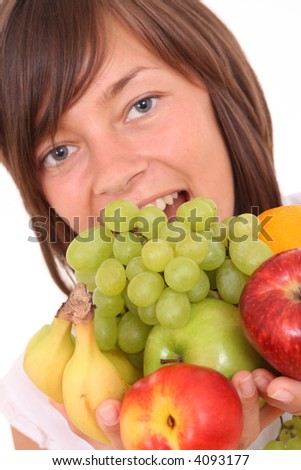 young beautiful woman with fresh fruits isolated on white - stock photo