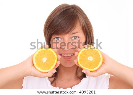 young beautiful woman with fresh orange isolated on white - stock photo