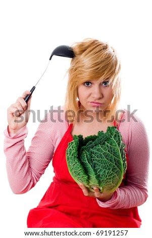 young beautiful woman with fresh savoy cabbage and ladle on white background - stock photo