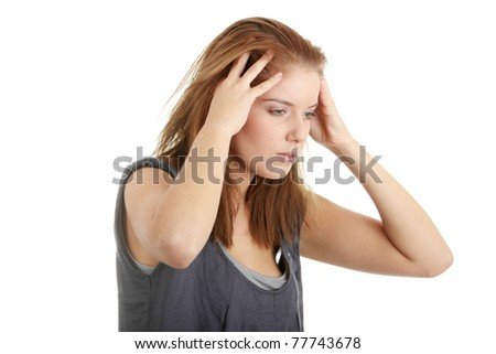 Young beautiful woman with headache isolated on white background. - stock photo