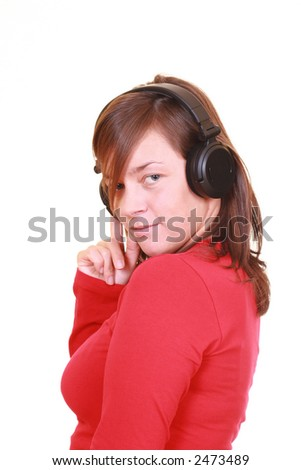 young beautiful woman with headphones isolated on white - stock photo
