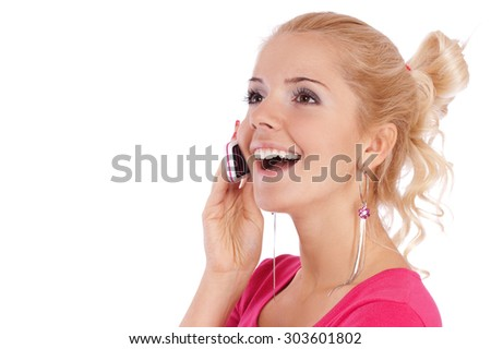 Young beautiful woman with mobile phone, it is isolated on white background.