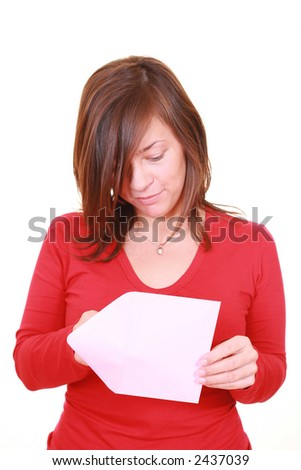 young beautiful woman with pink envelope isolated on white - stock photo