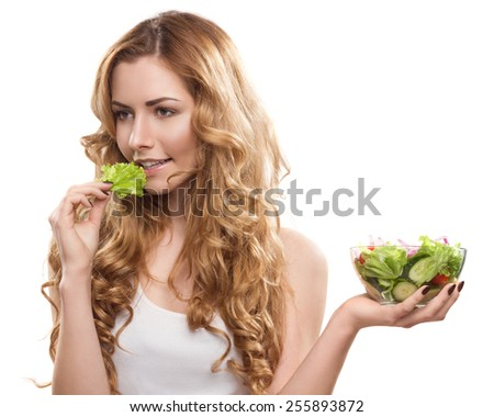 Young Beautiful Woman With Salad - stock photo