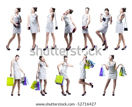 Young beautiful woman with shopping bags and handbag. Isolated on white background - stock photo