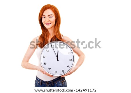 Young beautiful woman with the clock isolated in white