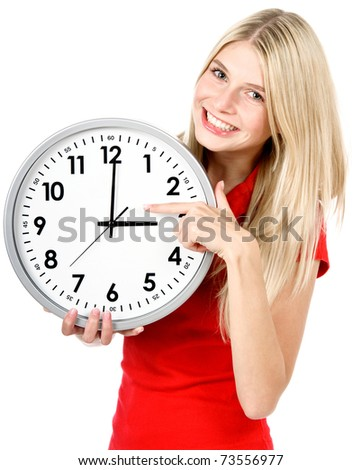 Young beautiful woman with the clock isolated in white. time management concept - stock photo