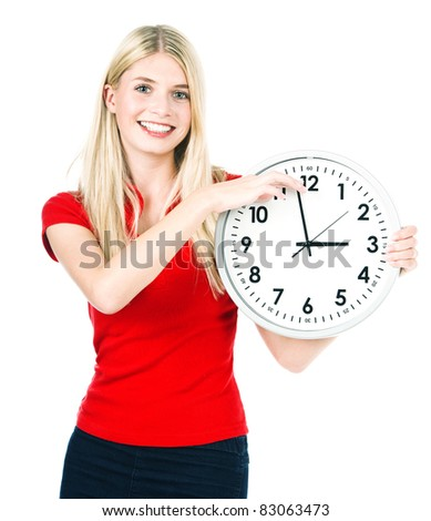 Young beautiful woman with the clock. time management concept