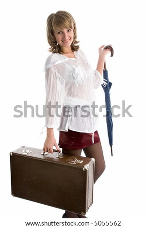 young beautiful woman with umbrella and suitcase, isolated on white - stock photo