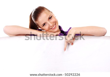 young beautiful woman with white empty placard - stock photo