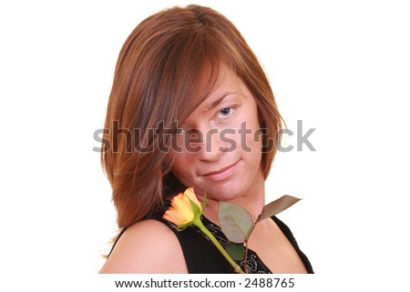 young beautiful woman with yellow rose isolated on white - stock photo