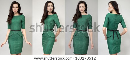 Young beautiful women in green dress posing on grey background  - stock photo