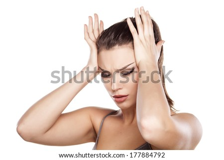 Young beautifull woman with headache