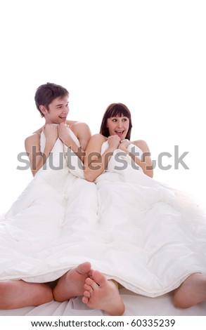 young beauty couple in the bed