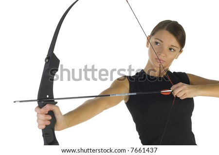 Young, beauty holding bow and taking aim at something. White background, front view - stock photo