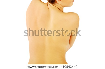 Young beauty nude woman back - stock photo