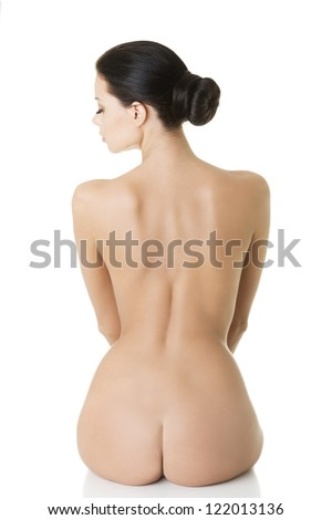 Young beauty nude women back, isolated on white - stock photo