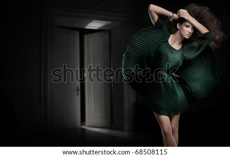 Young beauty posing in a dark room - stock photo