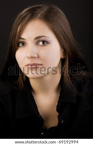 Young beauty tired woman look at you - stock photo