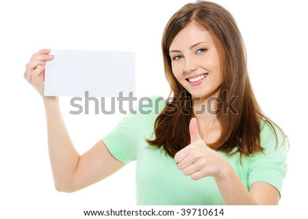 Young beauty woman hold blank card and showing thumbs-up over white background - stock photo