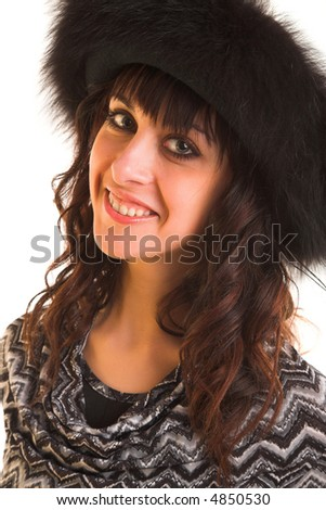young beauty woman in the black hat