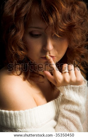 young beauty woman isolated on the black