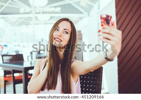 young beauty woman make selfie for self smartphone, outdoor portrait, fashion model, pretty girl, hipster, lips red, make up, close up, beauty street photo - stock photo