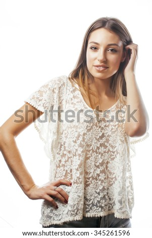 young beauty woman smiling dreaming isolated on white close up emotional adorable - stock photo
