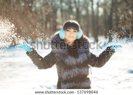 Young beauty woman winter portrait