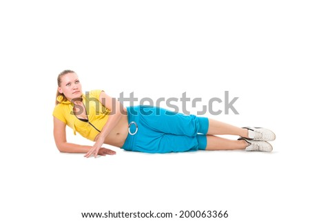 Young beginner sporty woman training isolated on white background