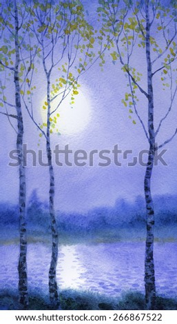 Young birch trees on bank of quiet river at mysterious gentle springtime blue gloaming. Colorful handmade romantic watercolour on paper backdrop card with space for text - stock photo