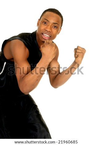 Young black African American  male basketball player, studio, white background - stock photo