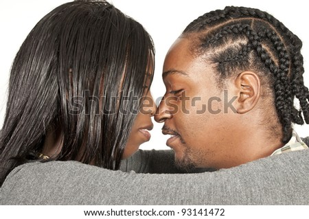 Young black African American man and woman - stock photo