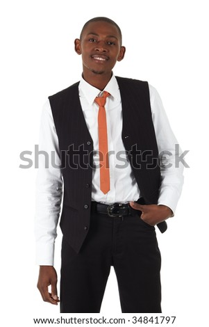Young black african businessman in a formal suite and on a white background -